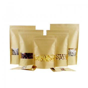 Zipper Standing Up Kraft Paper Bag With Clear Window