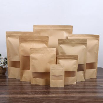 Customized Stand Up Kraft Paper Bag All Purpose Storing Food Storage Reusable Zip Lock Sealing For Coffee
