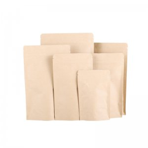 Manufacturer Kraft Paper Zipper Stand Up Bag, Solid Food Packaging Bag