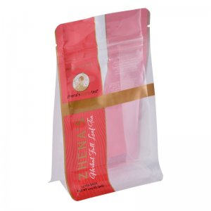 New design printing stand up flat bottom plastic bags ziplock flat pouch