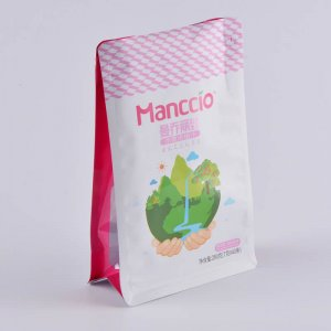 Nice looking edge-sealing printed flat bottom pouch for food flat bottom bag
