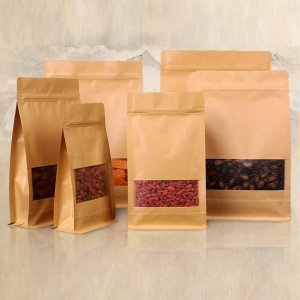 Flat Bottom Brown Kraft Paper Coffee Bean Bags With Valve and Zipper Top