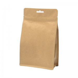Sales Promotion Side Gusset Kraft Paper Flat Square Bottom Coffee Packaging Bag With Zipper