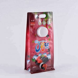 Newest style handle hole flat bottom bags with cap and vitop juice bag in box