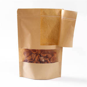 Brown Kraft paper stand up pouches with Windows