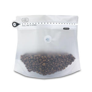 Clear stand up pouch with valve for coffee