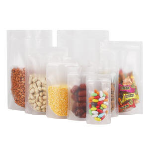 Customized size poly stand up snack pouch with ziplock