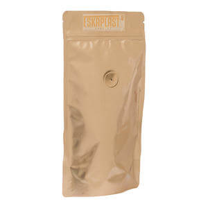 Gold Color Printed Coffee Pouch with Zipper and Valve