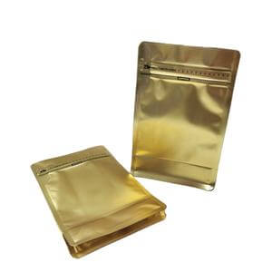 Gold matte stand up pouches with ziplock